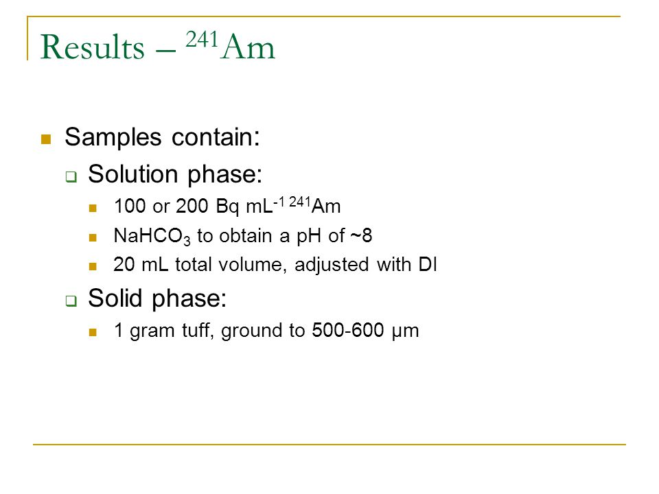 Results – 241 Am Samples contain :  Solution phase: 100 or 200 Bq mL -1 241 Am NaHCO 3 to obtain a pH of ~8 20 mL total volume, adjusted with DI  Solid phase: 1 gram tuff, ground to 500-600 μm