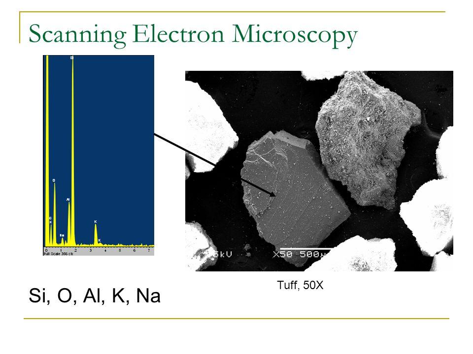 Scanning Electron Microscopy Si, O, Al, K, Na Tuff, 50X