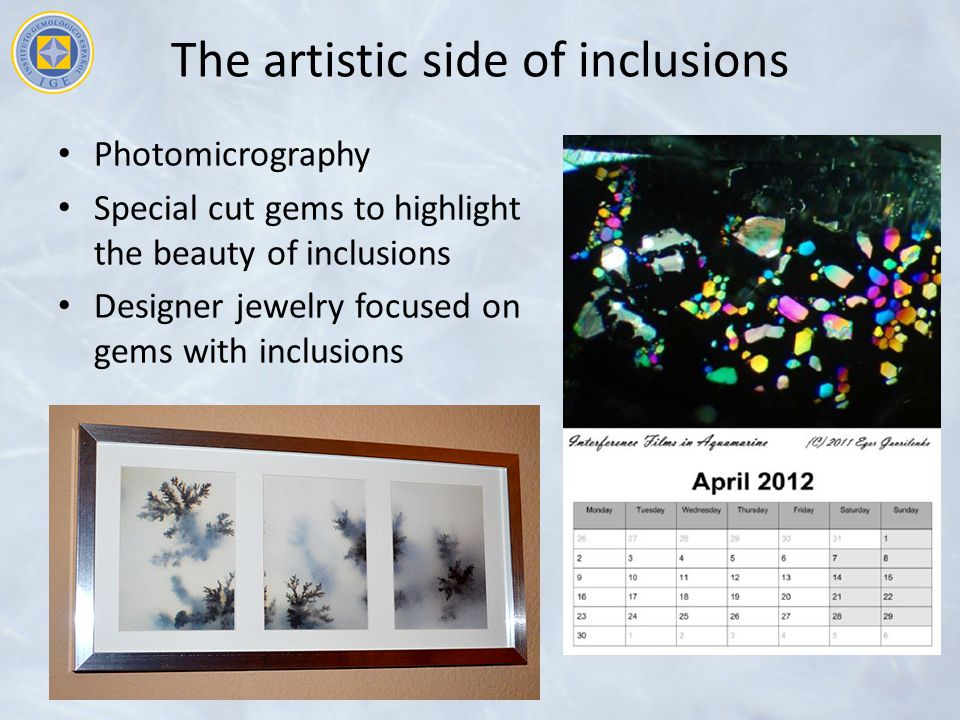 The artistic side of inclusions Photomicrography Special cut gems to highlight the beauty of inclusions Designer jewelry focused on gems with inclusions