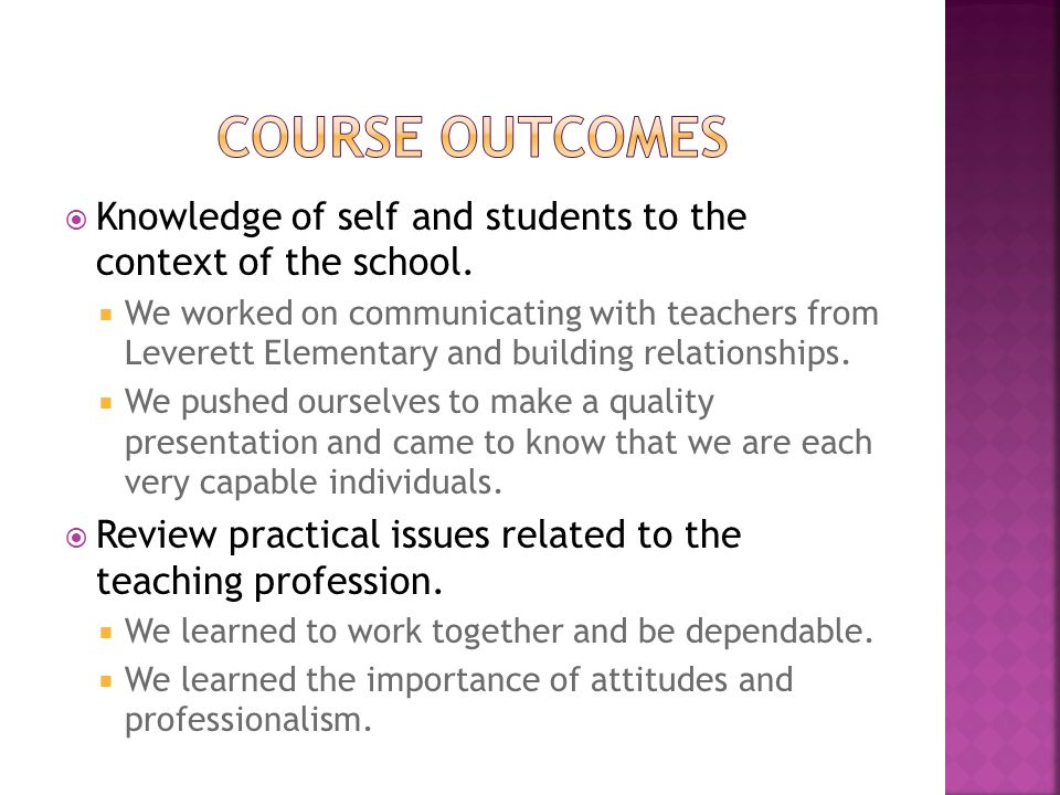  Knowledge of self and students to the context of the school.