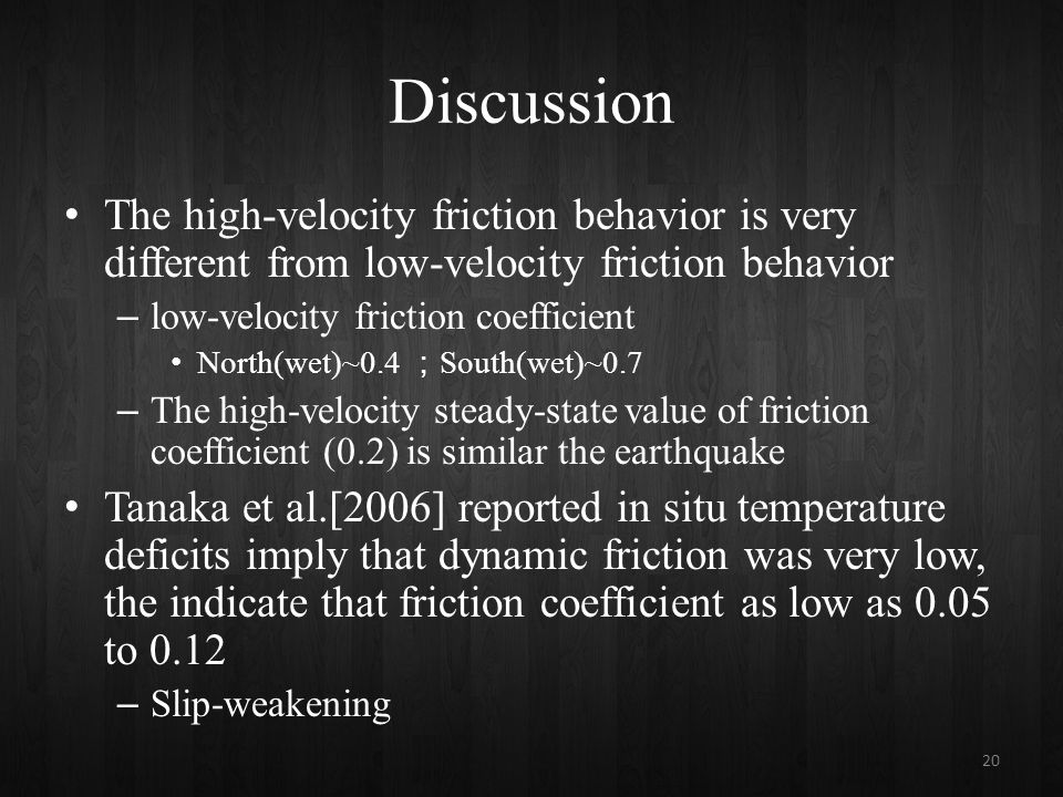 Discussion The high-velocity friction behavior is very different from low-velocity friction behavior – low-velocity friction coefficient North(wet)~0.