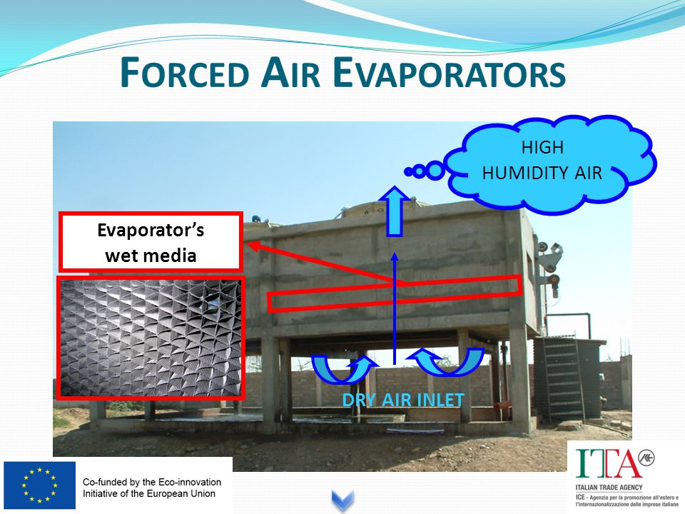 F ORCED A IR E VAPORATORS Evaporator's wet media DRY AIR INLET HIGH HUMIDITY AIR