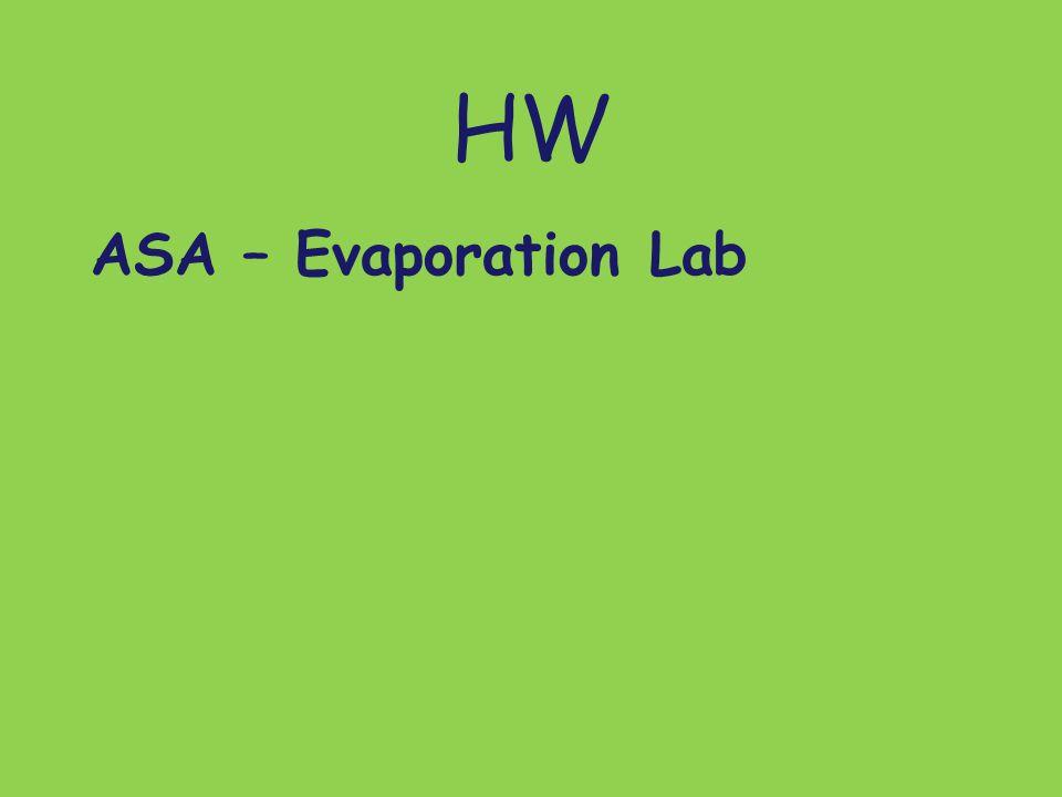 HW ASA – Evaporation Lab