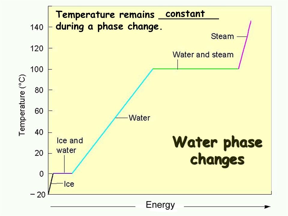 Water phase changes Temperature remains __________ during a phase change. constant