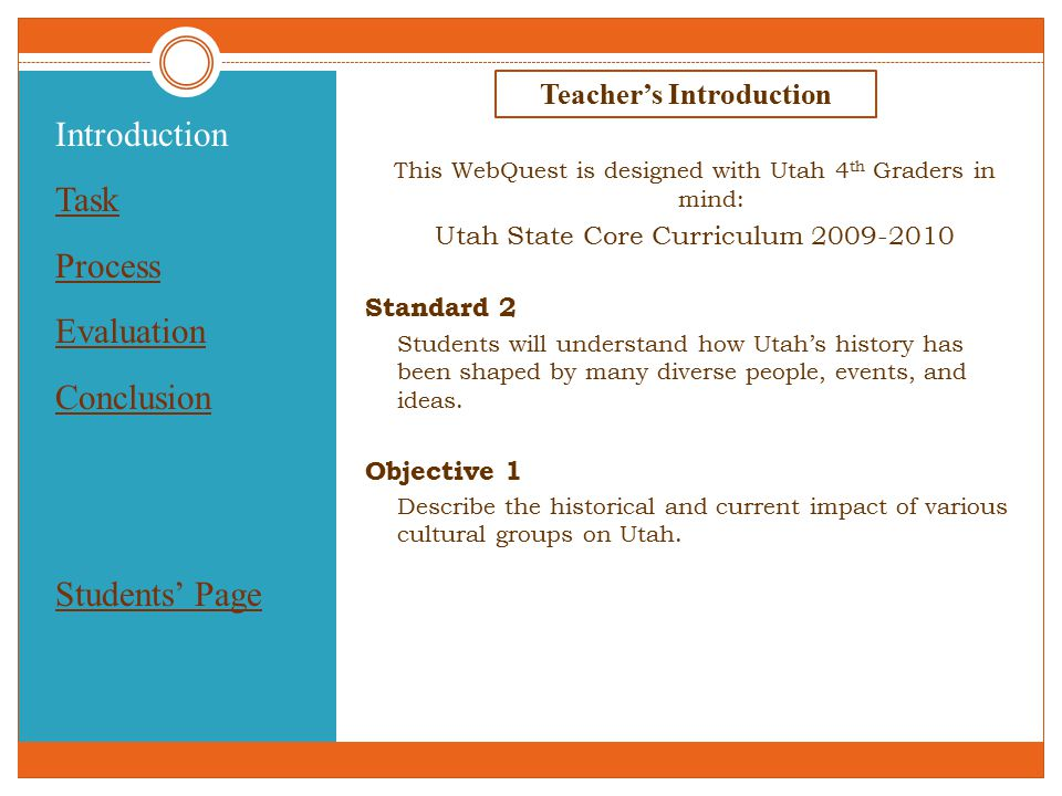Introduction Task Process Evaluation Conclusion Students' Page Teacher's Introduction This WebQuest is designed with Utah 4 th Graders in mind: Utah State Core Curriculum 2009-2010 Standard 2 Students will understand how Utah's history has been shaped by many diverse people, events, and ideas.