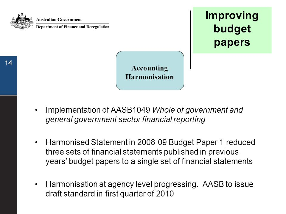 14 Implementation of AASB1049 Whole of government and general government sector financial reporting Harmonised Statement in 2008-09 Budget Paper 1 red