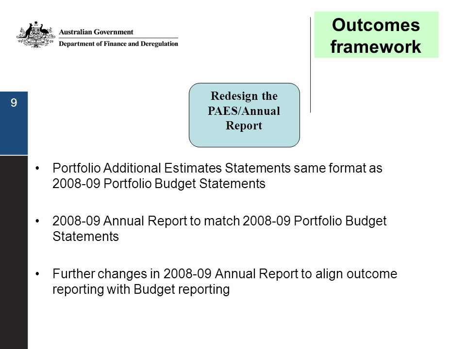 9 Portfolio Additional Estimates Statements same format as 2008-09 Portfolio Budget Statements 2008-09 Annual Report to match 2008-09 Portfolio Budget Statements Further changes in 2008-09 Annual Report to align outcome reporting with Budget reporting Redesign the PAES/Annual Report Outcomes framework