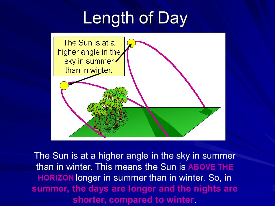 Length of Day The Sun is at a higher angle in the sky in summer than in winter.
