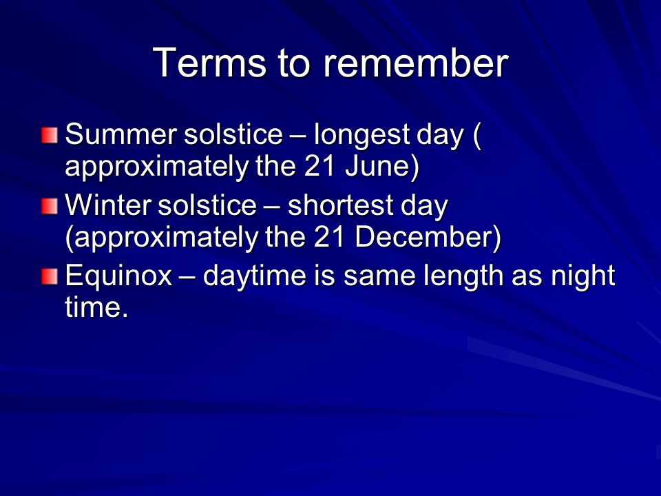 Terms to remember Summer solstice – longest day ( approximately the 21 June) Winter solstice – shortest day (approximately the 21 December) Equinox – daytime is same length as night time.