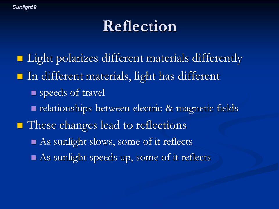 Sunlight 9 Reflection Light polarizes different materials differently Light polarizes different materials differently In different materials, light ha