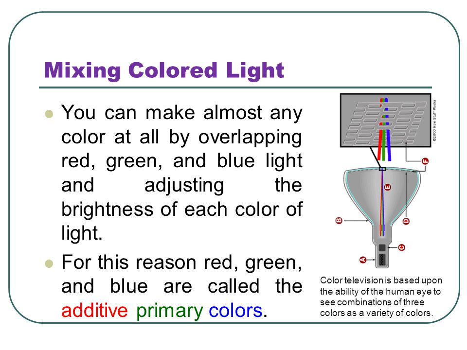 Mixing Colored Light You can make almost any color at all by overlapping red, green, and blue light and adjusting the brightness of each color of ligh