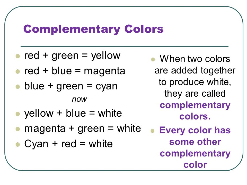 Complementary Colors red + green = yellow red + blue = magenta blue + green = cyan now yellow + blue = white magenta + green = white Cyan + red = whit