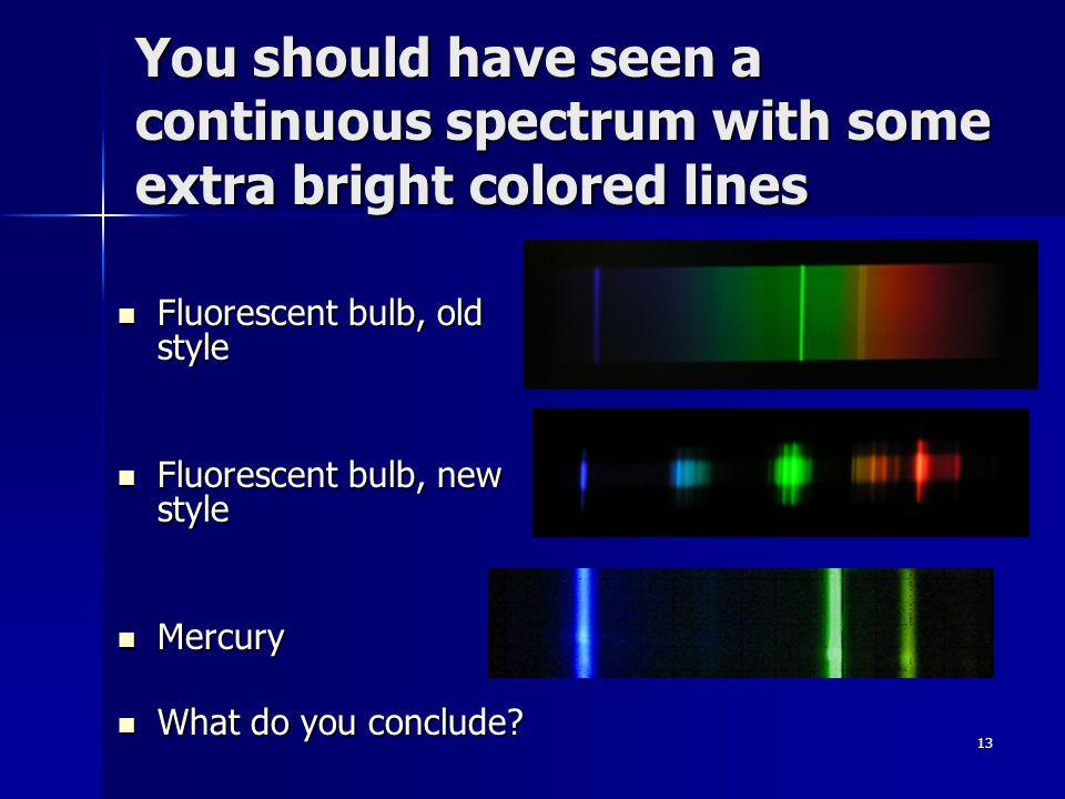 13 You should have seen a continuous spectrum with some extra bright colored lines Fluorescent bulb, old style Fluorescent bulb, old style Fluorescent bulb, new style Fluorescent bulb, new style Mercury Mercury What do you conclude.