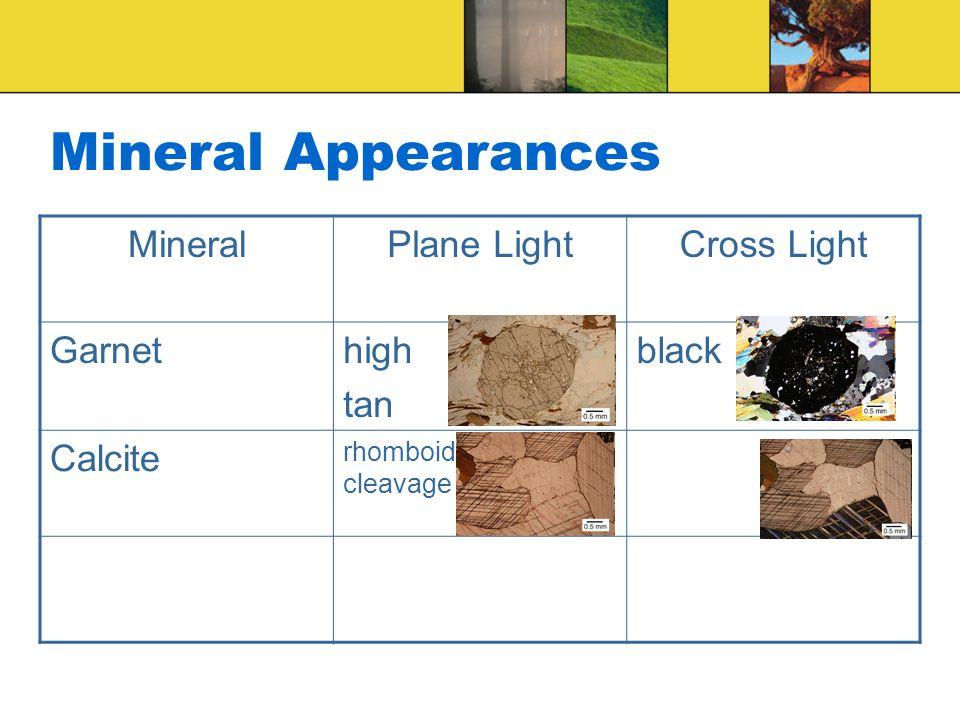 Mineral Appearances MineralPlane LightCross Light Garnethigh tan black Calcite rhomboid cleavage