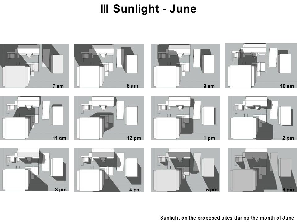 III Sunlight - June Sunlight on the proposed sites during the month of June 7 am 8 am 9 am10 am 11 am12 pm1 pm2 pm 3 pm4 pm5 pm6 pm
