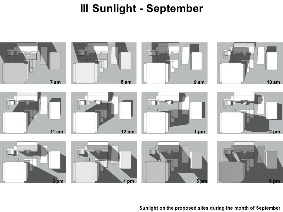 III Sunlight - September Sunlight on the proposed sites during the month of September 7 am 8 am 9 am10 am 11 am12 pm1 pm2 pm 3 pm4 pm5 pm6 pm