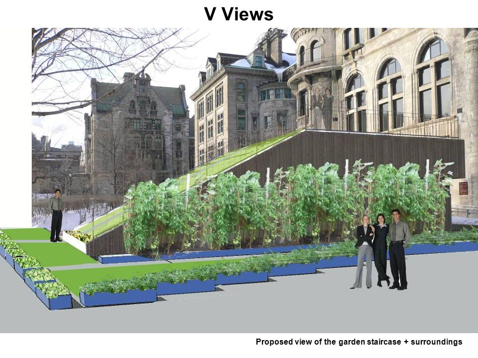 V Views Proposed view of the garden staircase + surroundings