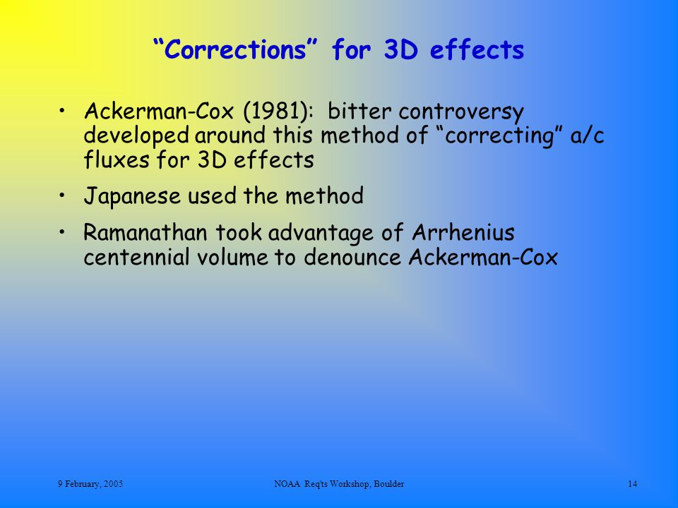 9 February, 2005NOAA Req ts Workshop, Boulder14 Corrections for 3D effects Ackerman-Cox (1981): bitter controversy developed around this method of correcting a/c fluxes for 3D effects Japanese used the method Ramanathan took advantage of Arrhenius centennial volume to denounce Ackerman-Cox