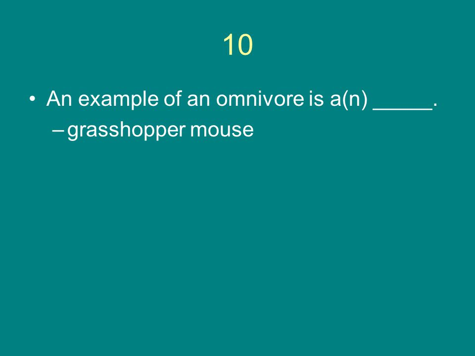 10 An example of an omnivore is a(n) _____. –grasshopper mouse