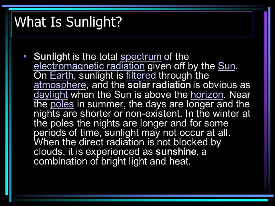 Importance of Sunlight to Humans