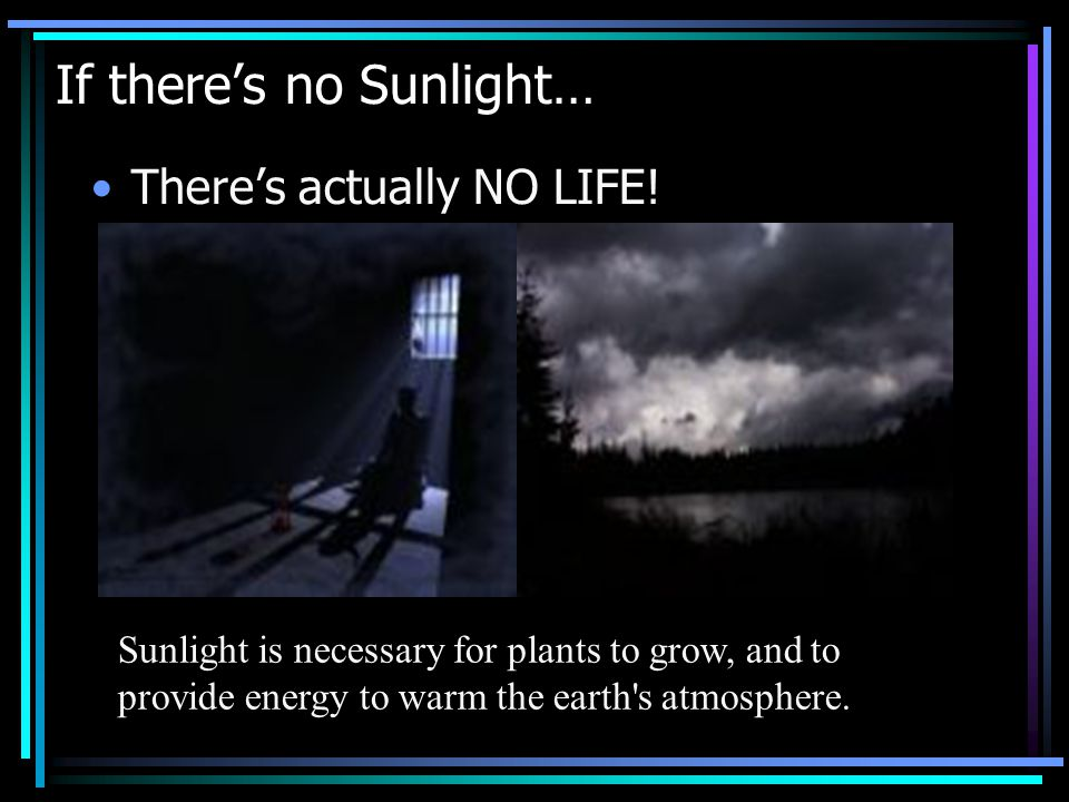 If there's no Sunlight… There's actually NO LIFE.