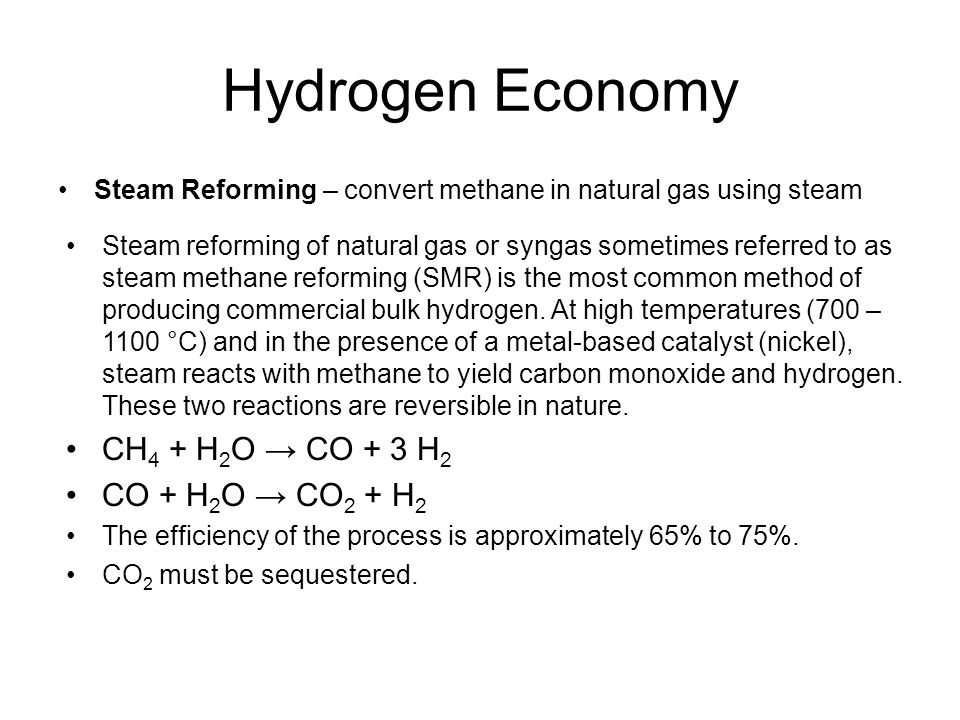 Direct Thermal Splitting of Natural Gas – split natural gas using heat Hydrogen Economy The Kværner-process or Kvaerner carbon black & hydrogen process (CB&H) is a method for the production of hydrogen from hydrocarbons (C n H m ), such as methane, natural gas and biogas.