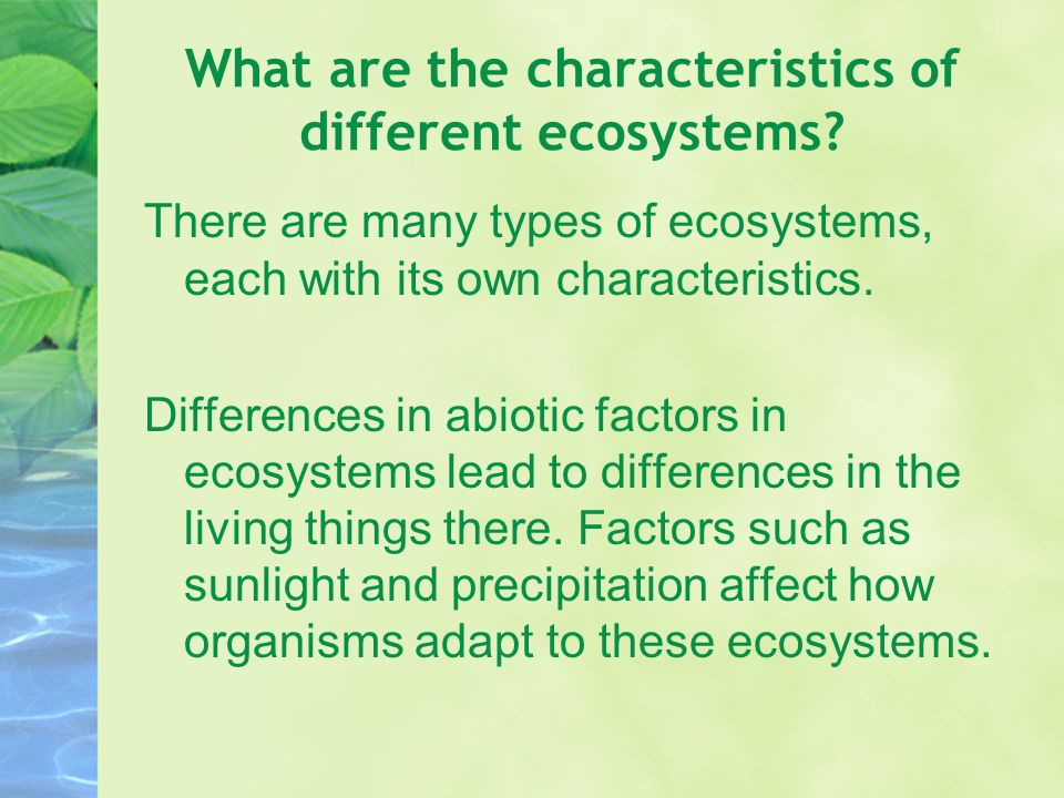 What are the characteristics of different ecosystems? There are many types of ecosystems, each with its own characteristics. Differences in abiotic fa