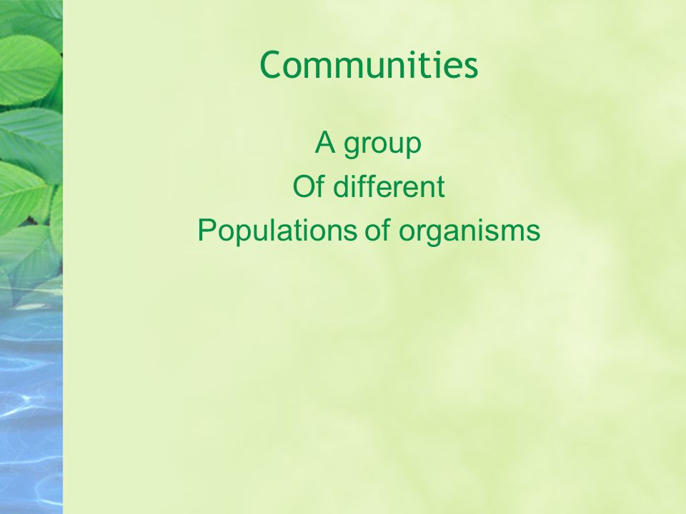Communities A group Of different Populations of organisms