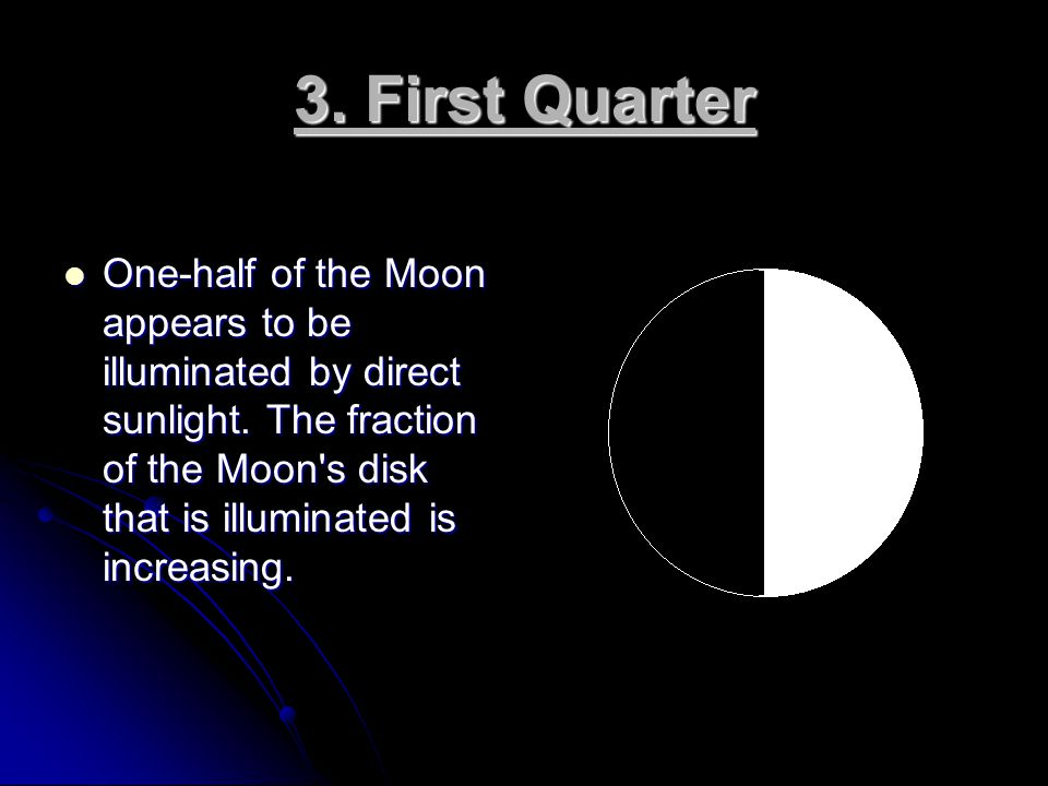 3. First Quarter One-half of the Moon appears to be illuminated by direct sunlight.