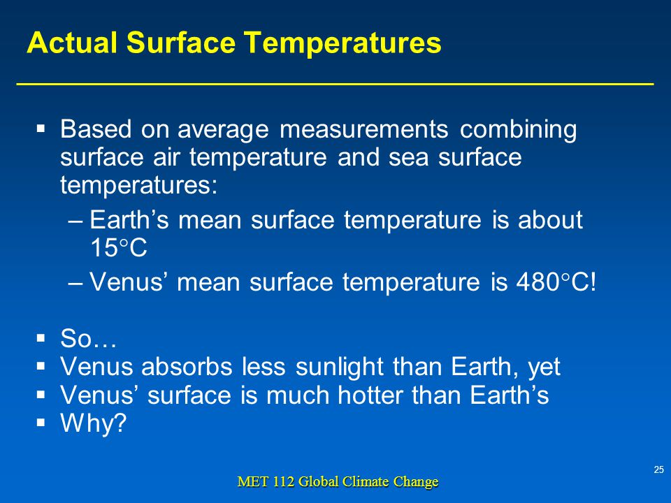25 MET 112 Global Climate Change Actual Surface Temperatures  Based on average measurements combining surface air temperature and sea surface temperatures: –Earth's mean surface temperature is about 15°C –Venus' mean surface temperature is 480°C.
