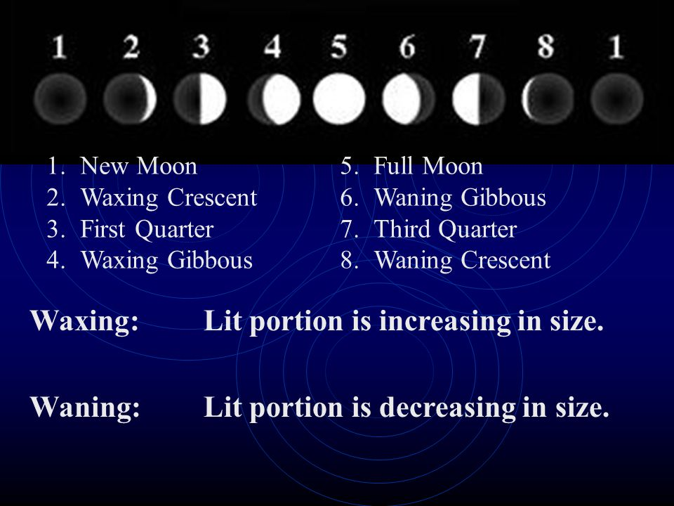 How long does it take for the moon to go through all of it's phases? 29.5 days, or about a month! Tip-think of it as a moonth!