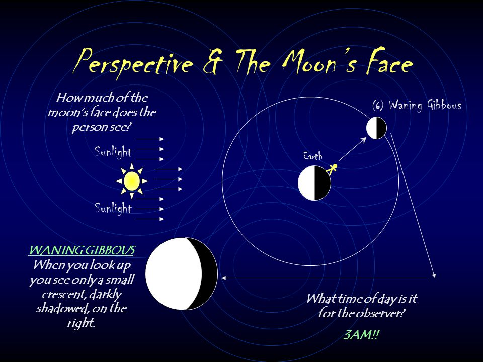 Perspective & The Moon's Face Sunlight Earth (5) Full Moon How much of the moon's face does the person see? What time of day is it for the observer? M