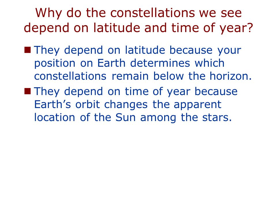 Why do the constellations we see depend on latitude and time of year? They depend on latitude because your position on Earth determines which constell