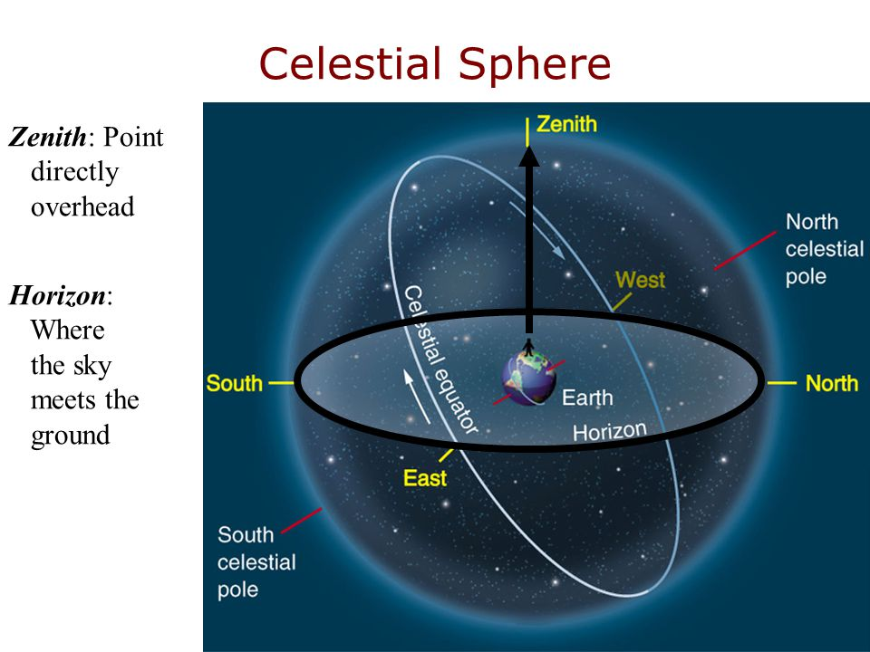 Celestial Sphere Zenith: Point directly overhead Horizon: Where the sky meets the ground