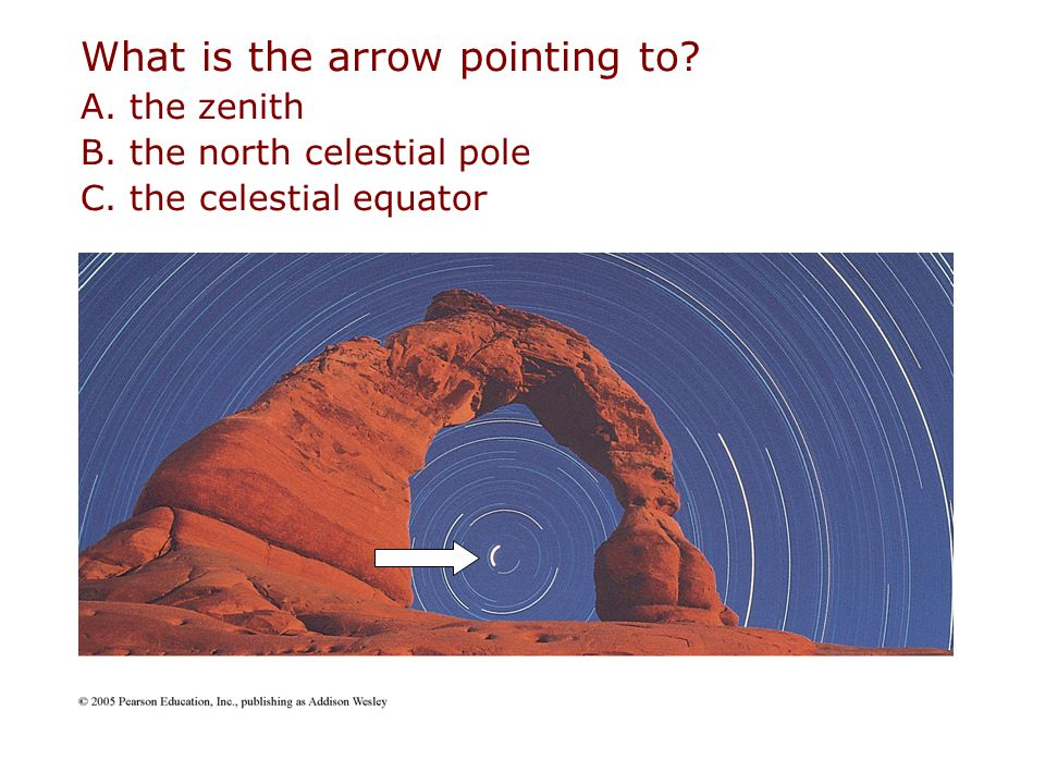 What is the arrow pointing to? A. the zenith B. the north celestial pole C. the celestial equator