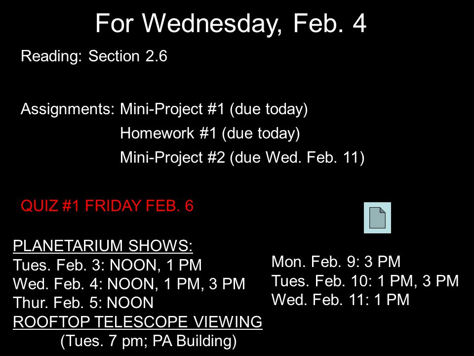 For Wednesday, Feb.