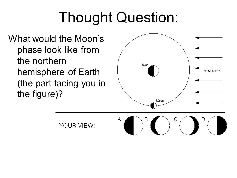 Thought Question: What would the Moon's phase look like from the northern hemisphere of Earth (the part facing you in the figure)? YOUR VIEW: ABCD