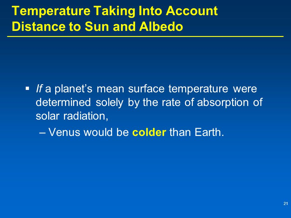 21 Temperature Taking Into Account Distance to Sun and Albedo  If a planet's mean surface temperature were determined solely by the rate of absorptio