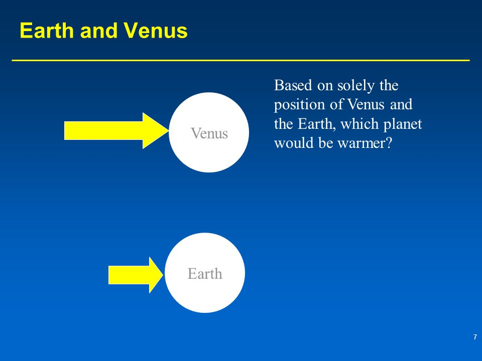 7 Earth and Venus Venus Earth Based on solely the position of Venus and the Earth, which planet would be warmer?
