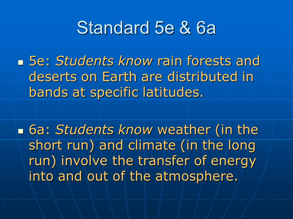 5e: Students know rain forests and deserts on Earth are distributed in bands at specific latitudes.