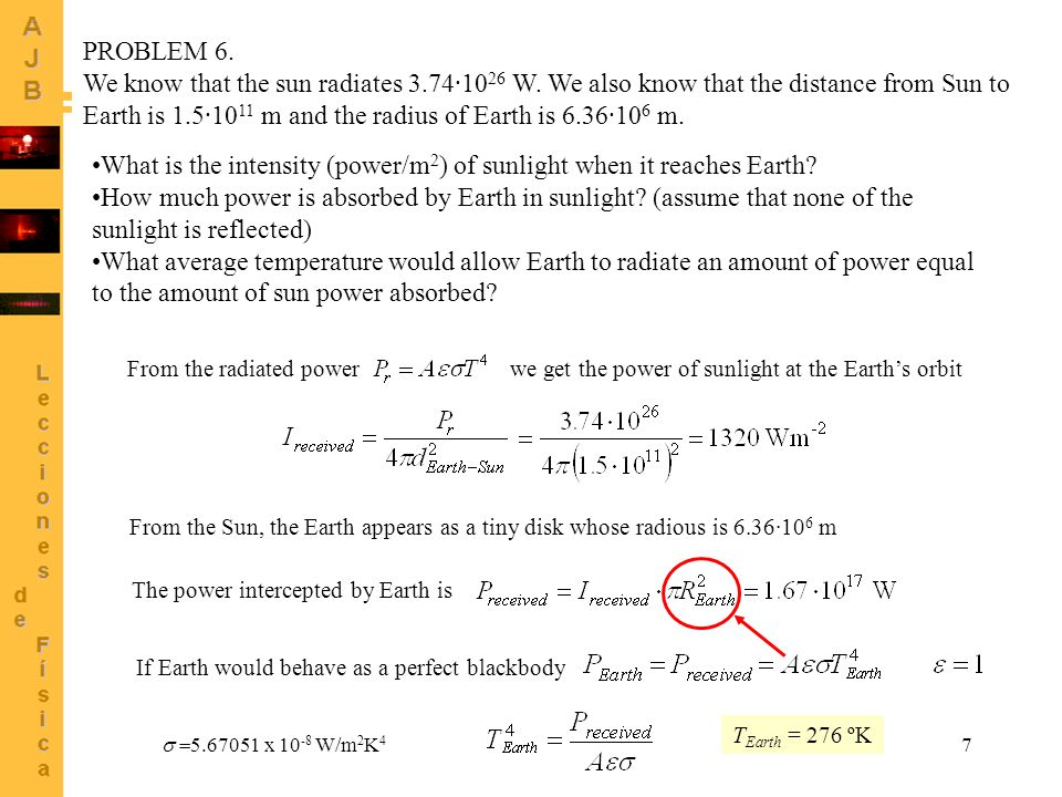 7 From the radiated powerwe get the power of sunlight at the Earth's orbit From the Sun, the Earth appears as a tiny disk whose radious is 6.36·10 6 m The power intercepted by Earth is If Earth would behave as a perfect blackbody  5.67051 x 10 -8 W/m 2 K 4 T Earth = 276 ºK PROBLEM 6.
