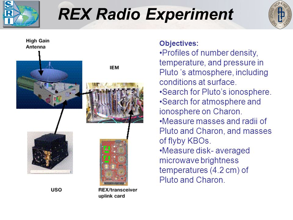 REX Radio Experiment Objectives: Profiles of number density, temperature, and pressure in Pluto 's atmosphere, including conditions at surface. Search