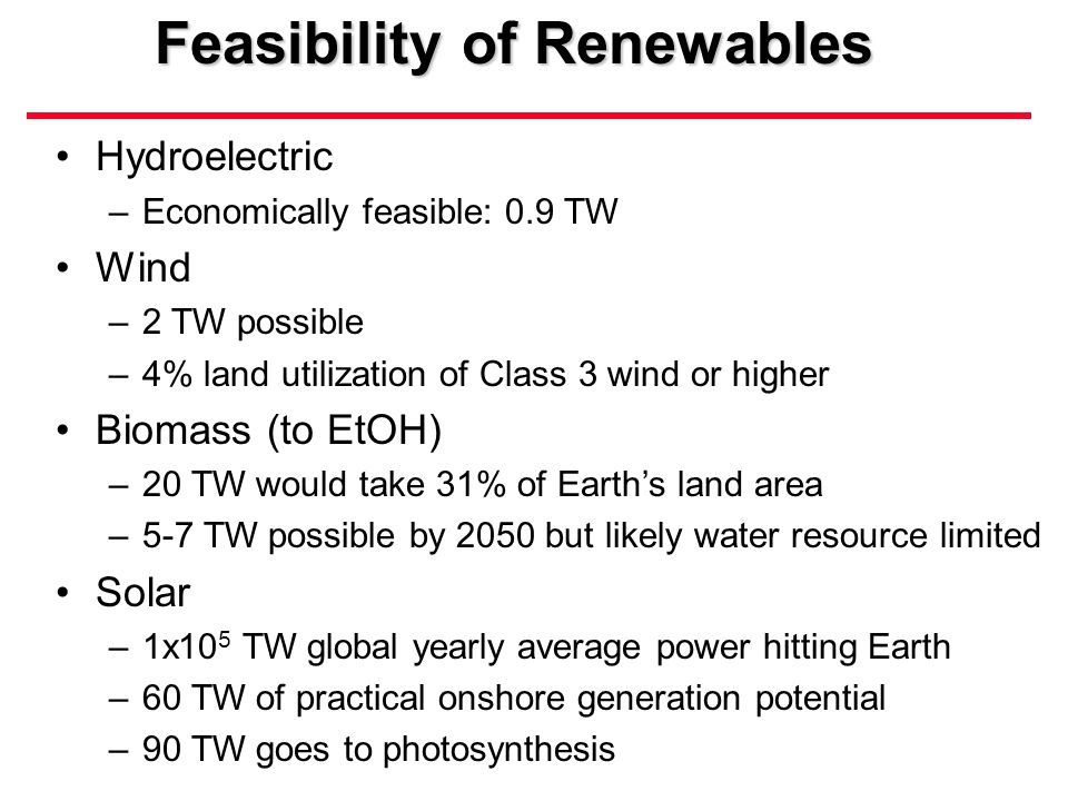 Feasibility of Renewables Hydroelectric –Economically feasible: 0.9 TW Wind –2 TW possible –4% land utilization of Class 3 wind or higher Biomass (to EtOH) –20 TW would take 31% of Earth's land area –5-7 TW possible by 2050 but likely water resource limited Solar –1x10 5 TW global yearly average power hitting Earth –60 TW of practical onshore generation potential –90 TW goes to photosynthesis