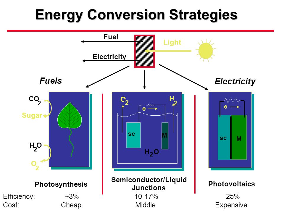 Light Fuel Electricity Photosynthesis Fuels Electricity Photovoltaics H O O H 2 2 2 sc M e e M CO Sugar H O O 2 2 2 Energy Conversion Strategies Semiconductor/Liquid Junctions Efficiency: ~3% 10-17% 25% Cost: Cheap Middle Expensive