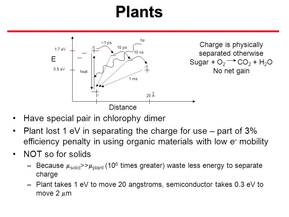 Plants 1.7 eV 0.8 eV E 20 A o heat h <1 ps 10 ps 10 ns 1 ms Distance Have special pair in chlorophy dimer Plant lost 1 eV in separating the charge for use – part of 3% efficiency penalty in using organic materials with low e - mobility NOT so for solids –Because  solid >>  plant (10 6 times greater) waste less energy to separate charge –Plant takes 1 eV to move 20 angstroms, semiconductor takes 0.3 eV to move 2  m Charge is physically separated otherwise Sugar + O 2 CO 2 + H 2 O No net gain