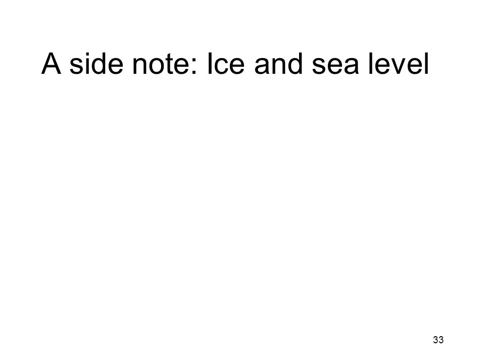 33 A side note: Ice and sea level