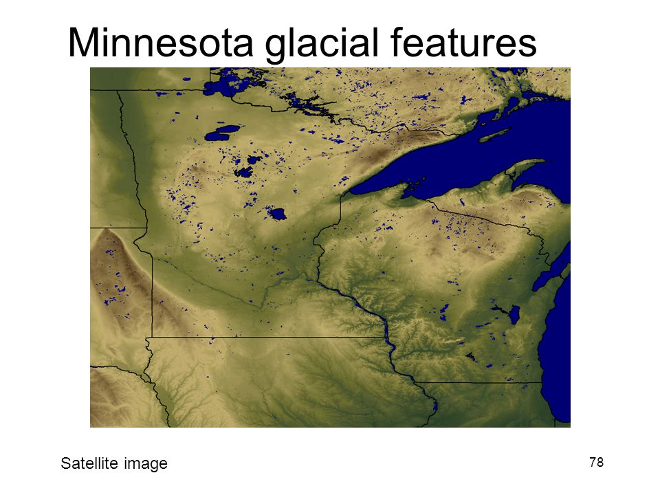 78 Minnesota glacial features Satellite image