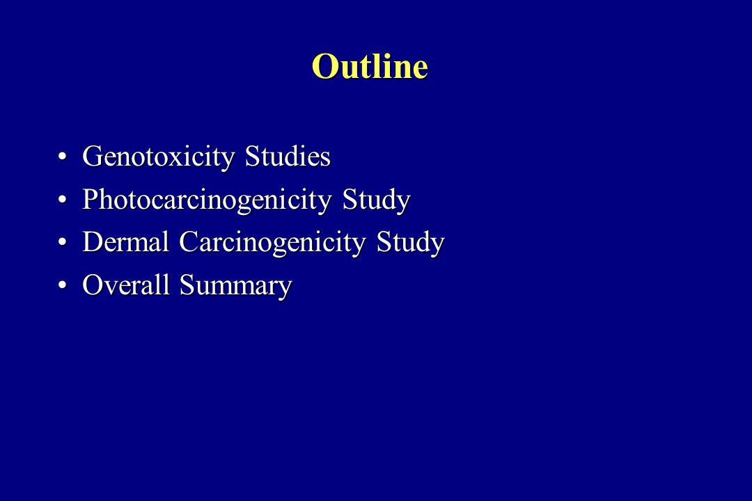 Outline Genotoxicity StudiesGenotoxicity Studies Photocarcinogenicity StudyPhotocarcinogenicity Study Dermal Carcinogenicity StudyDermal Carcinogenicity Study Overall SummaryOverall Summary