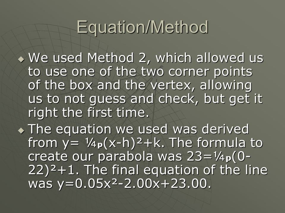 Equation/Method  We used Method 2, which allowed us to use one of the two corner points of the box and the vertex, allowing us to not guess and check, but get it right the first time.