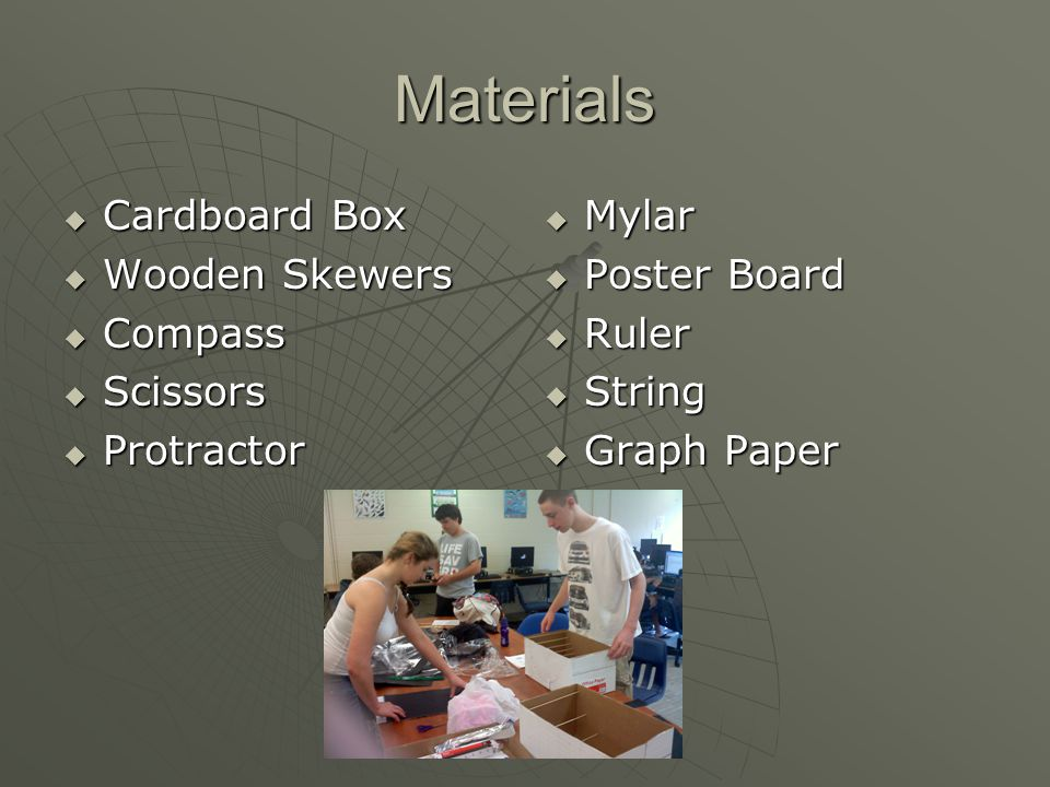 Materials  Cardboard Box  Wooden Skewers  Compass  Scissors  Protractor  Mylar  Poster Board  Ruler  String  Graph Paper